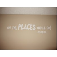 Oh the places you'll go 45x7 wall vinyl decal