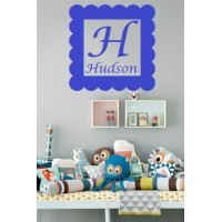Square Frame with Monogram letter and name inside vinyl decal 16 inch( Hudson sample)