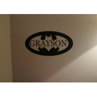 Batman with name cut out 22x10 inches vinyl decal stickers