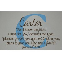 Monogram letter, name and Jeremiah 29:11 For I know the plans I have for you(32x22) Bible verse wall ...