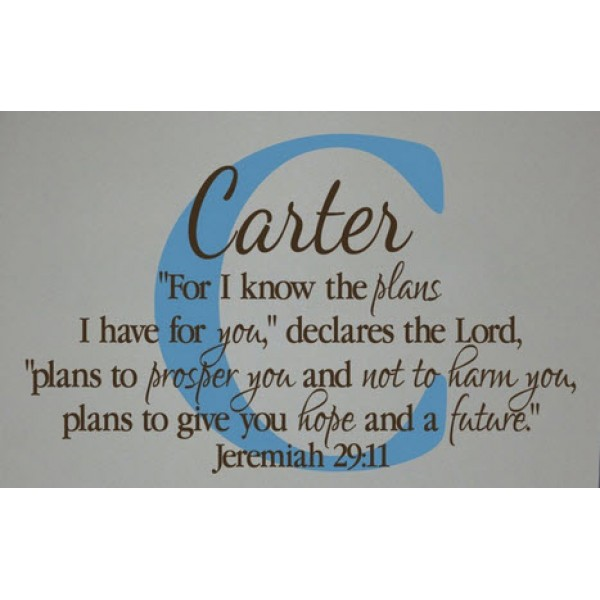 Monogram letter, name and Jeremiah 29:11 For I know the plans I have for you(30x22) Bible verse wall ...