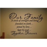 Our Family A circle of strength and love 28x20 vinyl decal wall saying Bible verse sticker