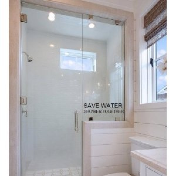Save water shower together ...WALL WORDS QUOTES SAYINGS ART LETTERING, BLACK