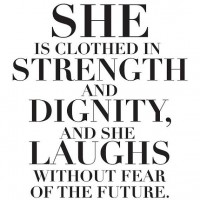 She is clothed in STRENGTH vinyl decal wall stickers