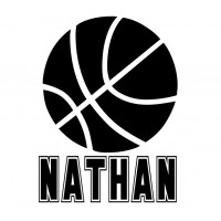 Basketball with kids name vinyl decal