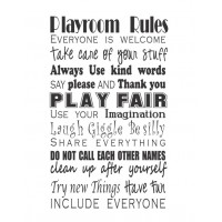 PLAYROOM RULES 18X11 INCHES  WALL QUOTES WORDS SAYINGS LETTERING DECALS