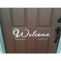 Front door welcome 19 inches White Passions FONT vinyl wall decal