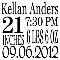 Personalized Birthday information decal 16x16 inches