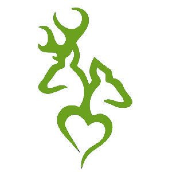 Deer Head Heart Logo Style #2(Decal will come in LIME GREEN) [0311MNWUVLQ] | data_Cars_Browning Deer Head Heart LIME GREEN.jpg