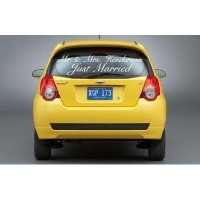 Just married car decal with Mr & Mrs. vinyl sticker