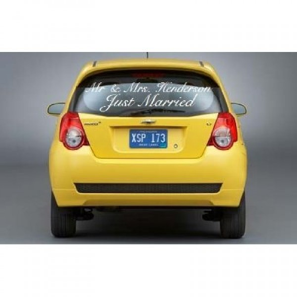 Just married car decal with Mr & Mrs. vinyl sticker [0623IQDVJD2] | data_Cars_Just married car decal with Mr & Mrs.jpg