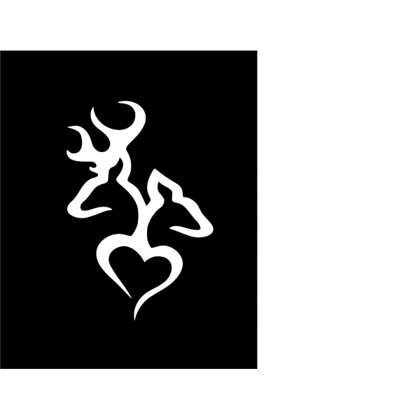Deer Head Heart Logo Style #2(Decal will come in WHITE) [1019IFQTZJW] | data_Cars_deer2.jpg