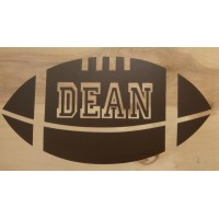 Football with name cut out of ball vinyl decal