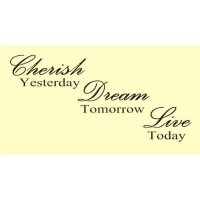 CHERISH YESTERDAY DREAM TOMORROW LIVE TODAY Vinyl wall art Inspirational quot...