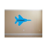 Military fighter jet with personalized name vinyl decal
