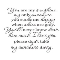 You are my sunshine  full quote vinyl decal wall quote