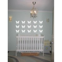 Butterfly vinyl decals 15 butterflies 32x22 3 rows kids room, nursery