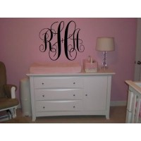 Monogram 16 inch Middle & 12 inch tall sides for kids and couples vinyl decal wall saying (22x16)