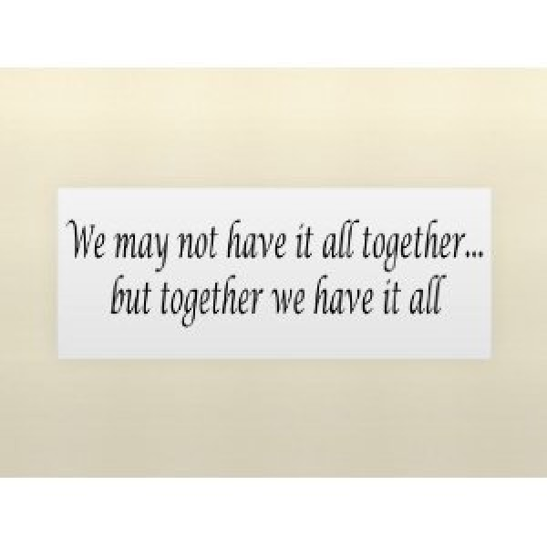 WE MAY NOT HAVE IT ALL TOGETHER...BUT TOGETHER WE HAVE IT ALL Vinyl wall quot... [0203IA5BV4K] | data_Quotes_414ZGK5Qp4L._SL500_AA300_.jpg