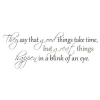 They say good things take time wall quote vinyl decal