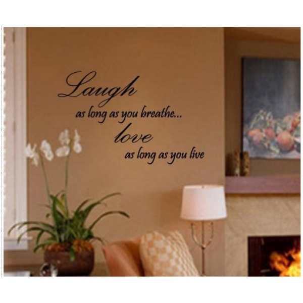 LAUGH AS LONG AS YOU BREATHE LOVE AS LONG AS YOU LIVE Vinyl wall lettering st... [0115MBGZ642] | data_Quotes_Laugh as long as you breathe.jpg