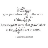 1 Corinthians 15:58 Bible verse wall saying vinyl decal