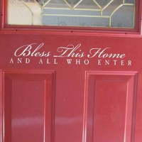 BLESS THIS HOME AND ALL WHO ENTER Vinyl wall lettering quotes and sayings hom...