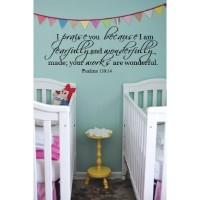 I praise you because Psalm 139:14 36x11 wall decal saying vinyl