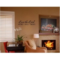 LOVE THE LORD HEART SOULD MIGHT Vinyl wall lettering stickers quotes and sayi...