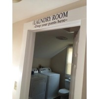 THE LAUNDRY ROOM DROP YOUR PANTS HERE Vinyl wall quotes stickers sayings home art de...
