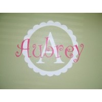 Monogram 16x16 inches scalloped design with Monogram and 18 inches wide   vinyl decal wall saying