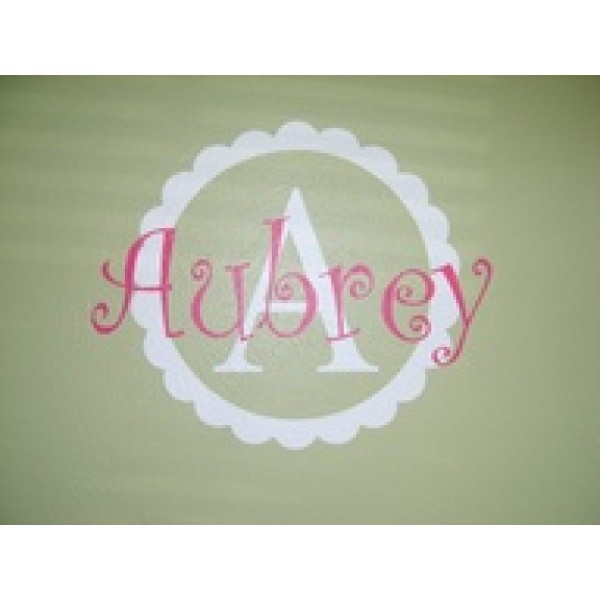 Monogram 16x16 inches scalloped design with Monogram and 18 inches wide   vinyl decal wall saying  [0000000054] | data_dec6f4b24fdf2b3097df85252a7a38b9.jpg