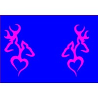 A set of Browning Deer Head Heart Logo (2 decals in HOT PINK a left & right s...