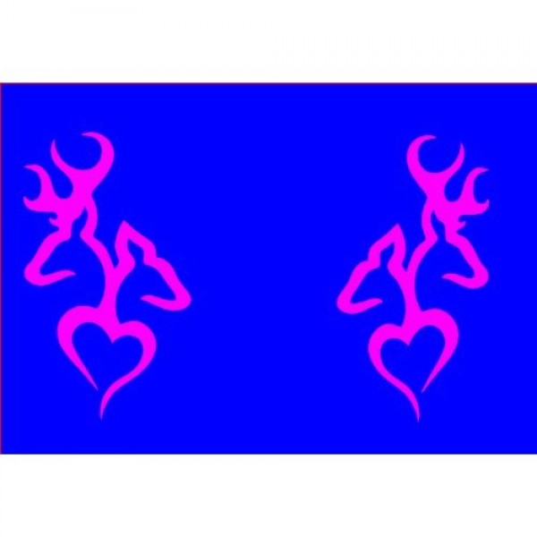 A set of Browning Deer Head Heart Logo (2 decals in HOT PINK a left & right s... [0516MG82TT2] | data_k_A set of Browning Deer Head Heart hot pink.jpg