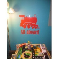 All Aboard vinyl wall decal train