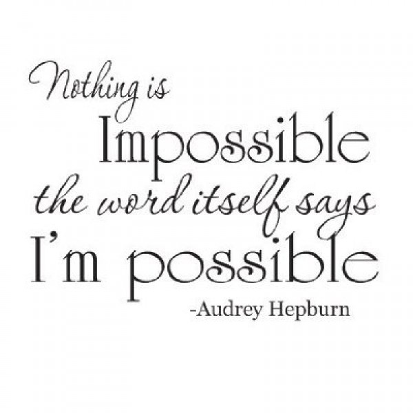 Audrey Hepburn Nothing is Impossible quote 22x12 wall saying vinyl decal [0709IYX9LVQ] | data_k_Audrey Hepburn Nothing is Impossible quote 22x12 wall saying vinyl decal.jpg